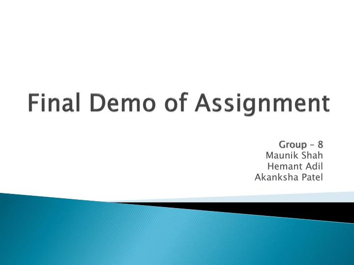 final demo of assignment n.
