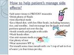 how to help patient s manage side effects