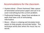 accommodations for the classroom