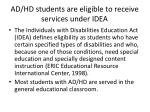 ad hd students are eligible to receive services under idea