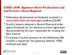 case law applause store productions ltd and firscht v grant raphael