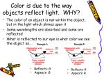 color is due to the way objects reflect light why