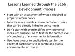 lessons learned through the 316b development process
