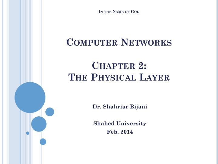 in the name of god computer networks chapter 2 the physical layer n.