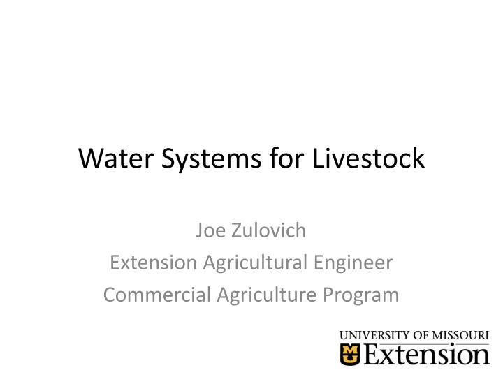 water system s for livestock n.