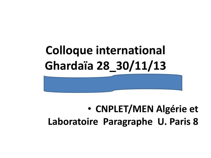 colloque international gharda a 28 30 11 13 n.