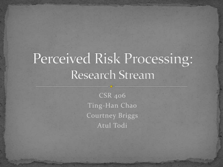 perceived risk processing research stream n.