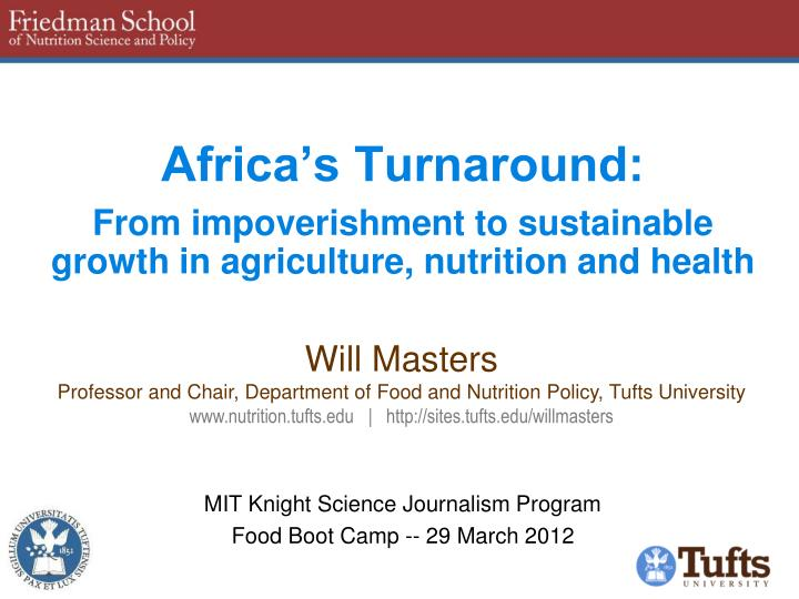 africa s turnaround from impoverishment to sustainable growth in agriculture nutrition and health n.