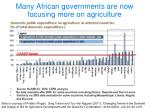many african governments are now focusing more on agriculture