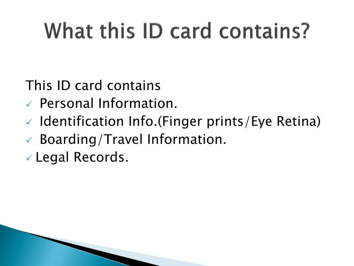 What this ID card contains?