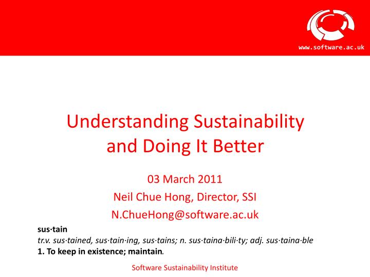 understanding sustainability and doing it better n.