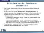 formula grants for rural areas section 53111