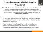 2 nombramiento del administrador provisional