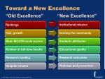 toward a new excellence