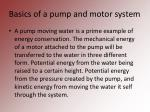 basics of a pump and motor system