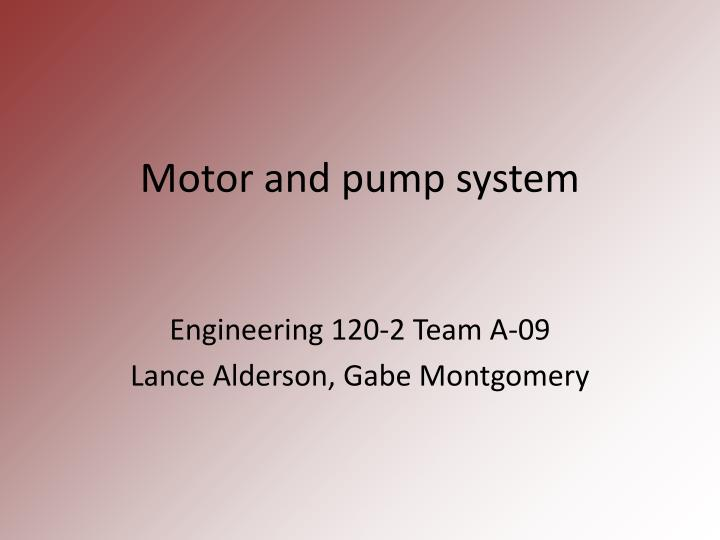 motor and pump system n.