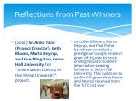 reflections from past winners