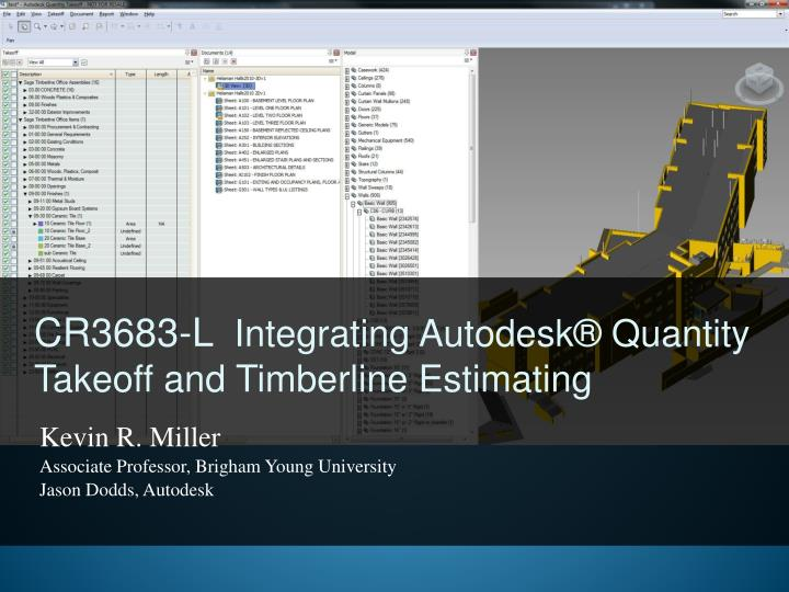 cr3683 l integrating autodesk quantity takeoff and timberline estimating n.