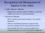 recognition and management of injuries to the ankle