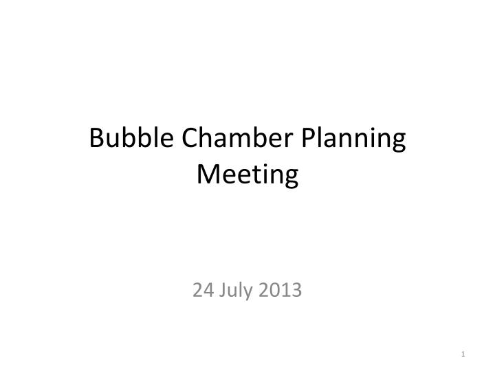 bubble chamber planning meeting n.