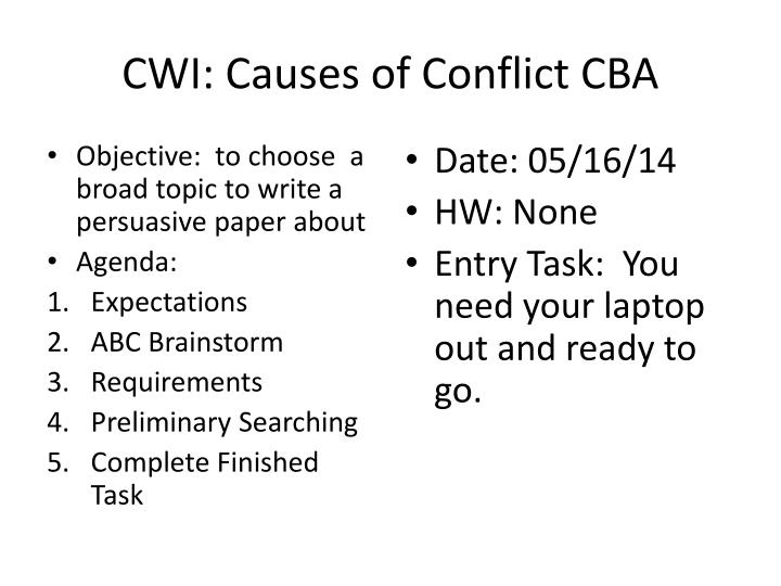 cwi causes of conflict cba n.