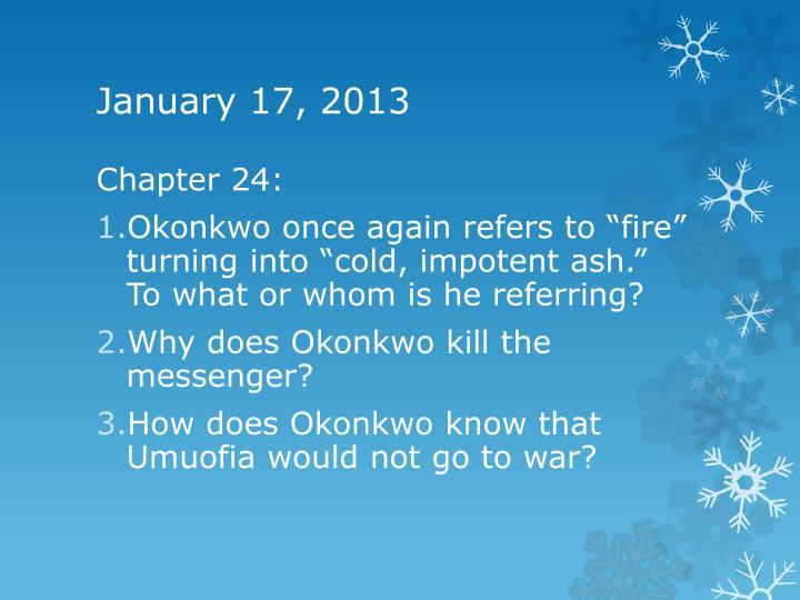 okonkwo killing the messanger Inaugural edition, december 2008 enl informed okonkwo that the village oracle called for the killing of okonkwo's adopted son ikemefuna, he asked.