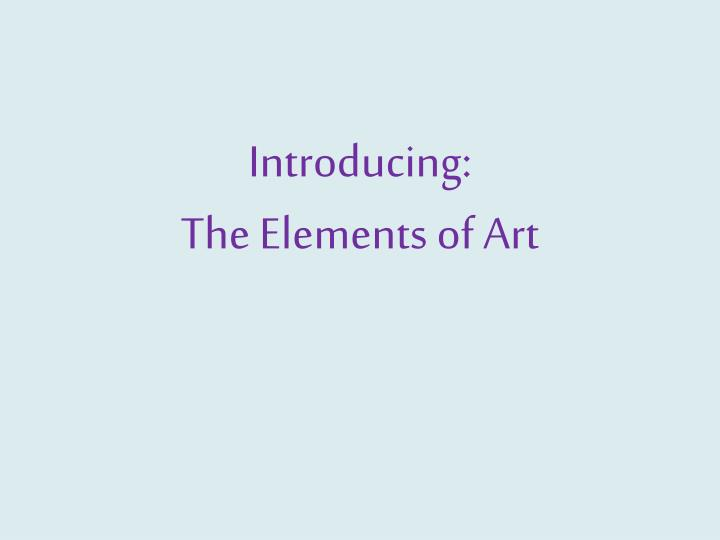 introducing the elements of art n.
