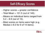 self efficacy scores