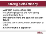 strong self efficacy