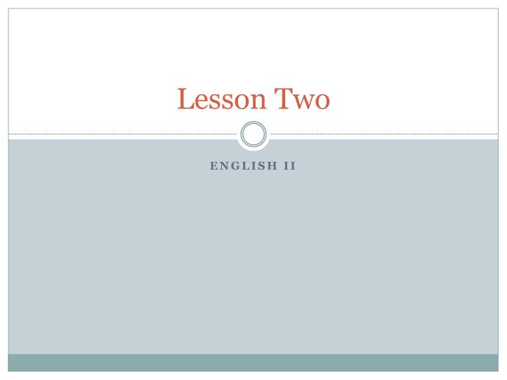 lesson two n.