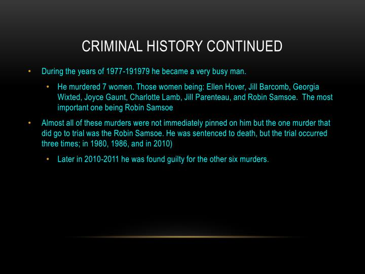 Criminal History continued