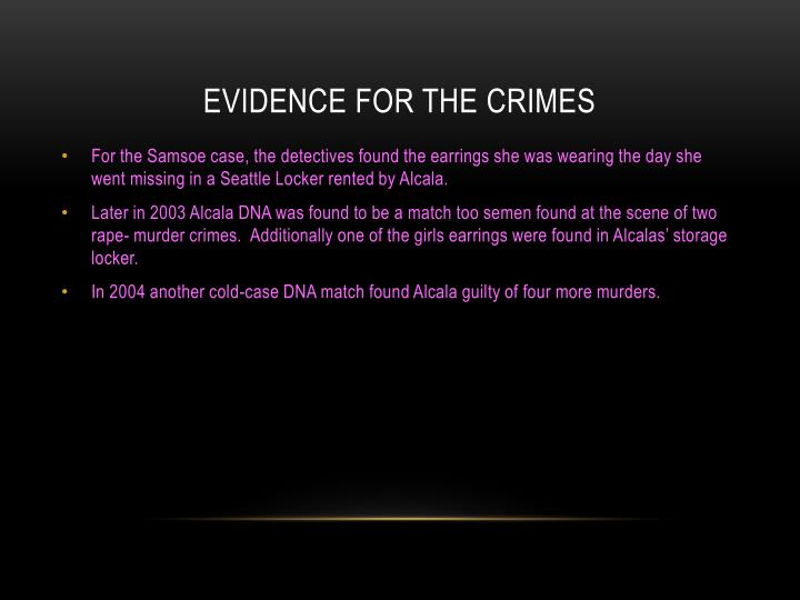 Evidence for the Crimes