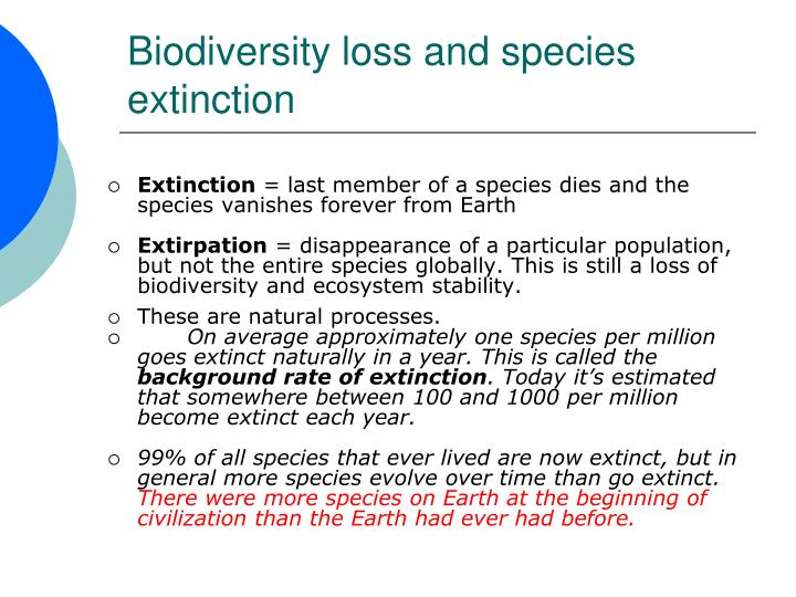 Biodiversity loss and species extinction