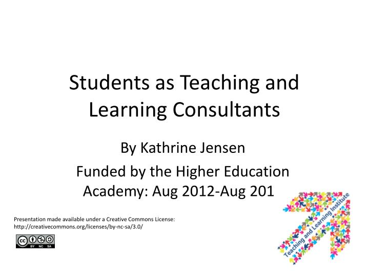students as teaching and learning consultants n.