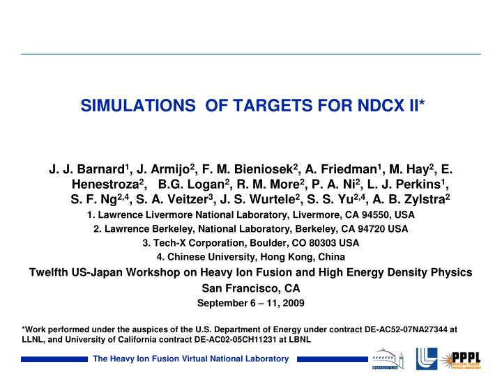 simulations of targets for ndcx ii n.