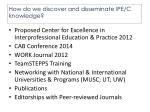 how do we discover and disseminate ipe c knowledge