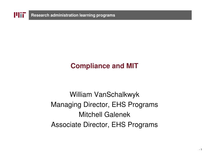 compliance and mit n.