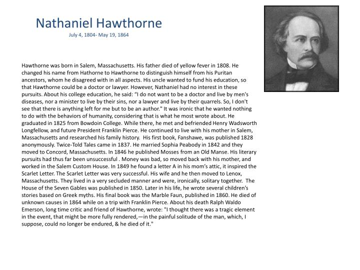 disapproval of puritanism in nathaniel hawthornes young The entire wikipedia with video and photo galleries for each article find something interesting to watch in seconds.