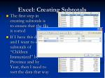 excel creating subtotals