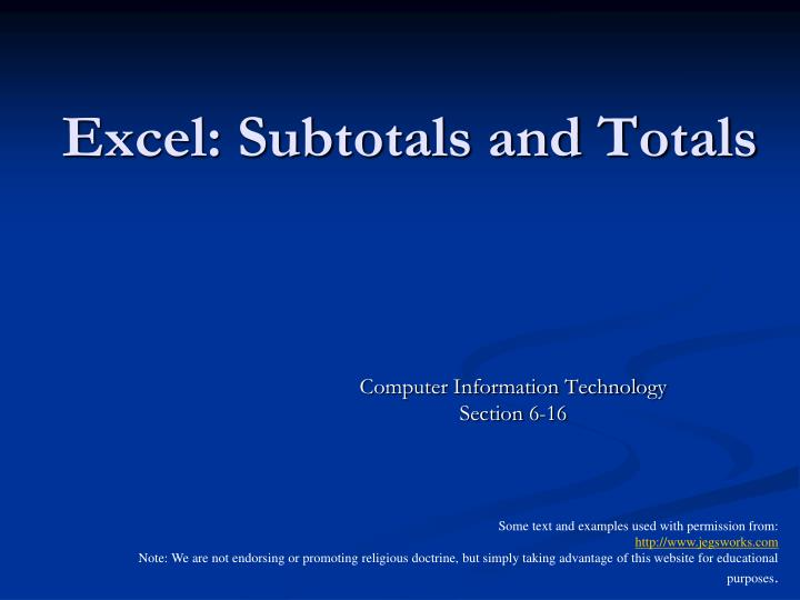excel subtotals and totals n.