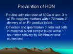 prevention of hdn