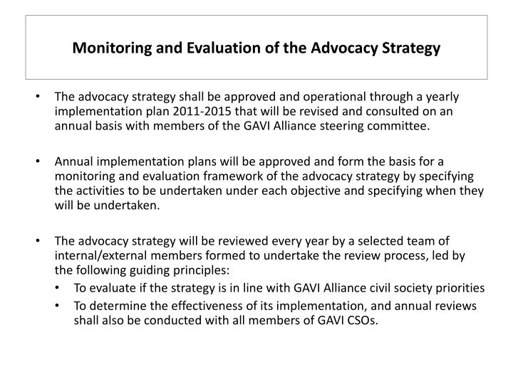 Monitoring and Evaluation of the Advocacy Strategy