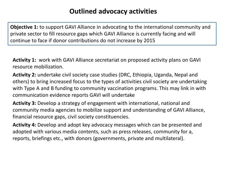 Outlined advocacy activities