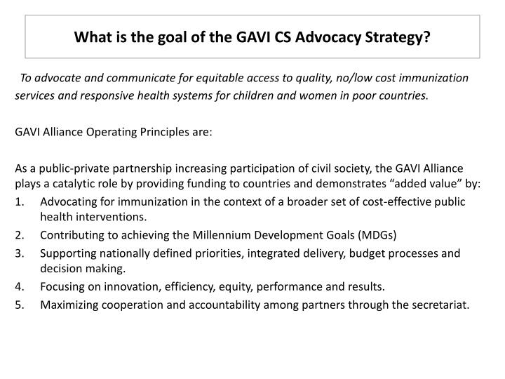 What is the goal of the gavi cs advocacy strategy