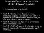 la perfecci n del sumo sacerdote dentro del prop sito divino