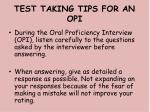 test taking tips for an opi