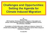 challenges and opportunities setting the agenda for climate induced migration