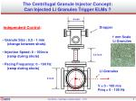 the centrifugal granule injector concept can injected li granules trigger elms