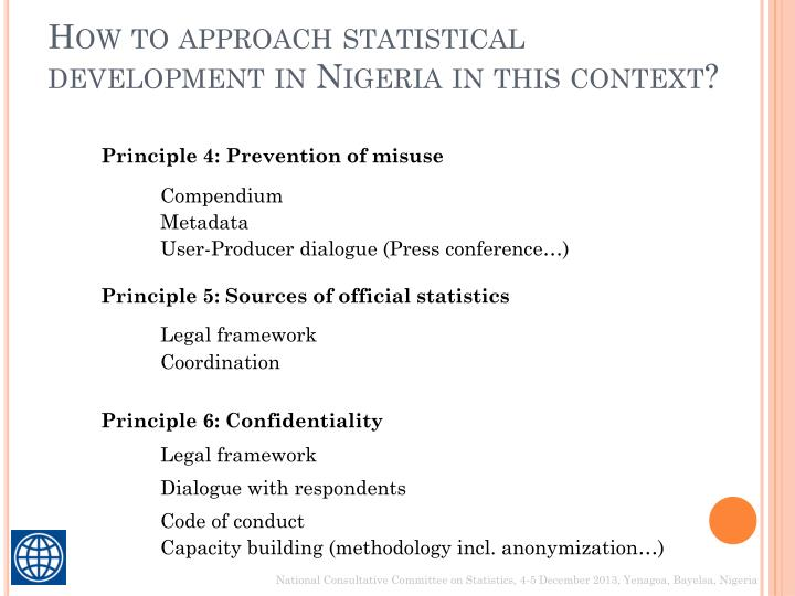 How to approach statistical development in Nigeria in this context?