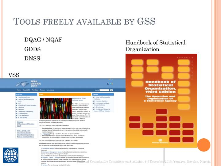Tools freely available by GSS